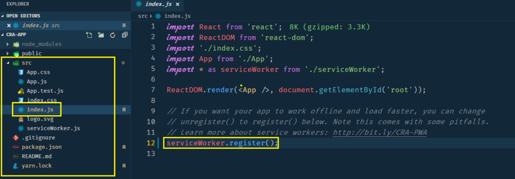 custom-service-worker with create-react-app